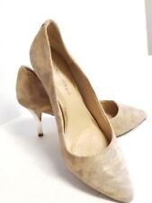 Antonio Melani Womens Beige Leather Suede Metallic Mirror Heels Sz7.5 Pre-owned