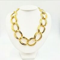 Vintage Signed NAPIER Gold Tone Chunky Chain Oval Link Necklace