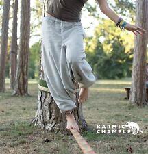 Cáñamo Harén Pantalones de Yoga Gris Hippie Boho gitano Damas Llano Suelto Festival Aladdin