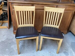 Light Brown Wood Spindle Back Dining Kitchen Chairs x 2 Brown Faux Leather Seats