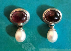 """Sterling Silver Earrings Pink Tourmaline Cab 9x7 FW Pearl Drop .75"""" 5g 925 #2034"""