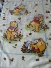 Classic Winnie the Pooh Blue Luxe Plush Baby Blanket Hunny Pots Bees butterfly