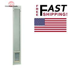 """White Aluminum Pet Patio Door 7"""" x 11.25"""" Medium Fits 77.6"""" to 80.4"""" Flexible"""