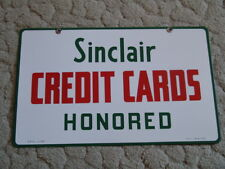 1959 SINCLAIR CREDIT CARD DOUBLE SIDED PORCELAIN SIGN - NEW OLD STOCK