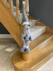Grey White Reindeer Xmas Scandi Christmas Decoration Home Decor Nordic Tartan