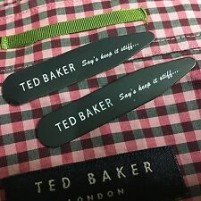 TED BAKER Shirt Collar Stiffeners 50mm Long BLACK WHITE Shirt Collar Stays Bones