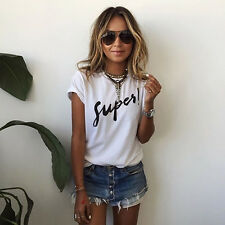 UK Womens Letter Blouse T-Shirt Short Sleeve Casual Loose Tops Summer Plus Size