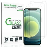 amFilm Tempered Glass Screen Protector for iPhone 12, 12 Pro, 11, & XR/10R (6.1)