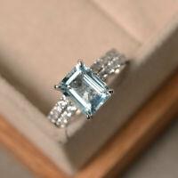 2.90Ct Genuine Aquamarine Diamond Wedding Ring Band Set 14K White Gold SizeM 1/2
