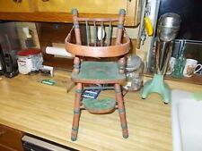 "Vintage New Wooden Doll High Chair Folds Down and Foot Stool 19.5"" Tall -Painted"