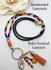 Beaded Lanyard,Tassel Necklace,Festival Lanyard,Boho Lanyard,ID Badge Holder,L96