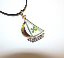 """Bon voyage sailor boat pendant with real four leaf clover (cord 19"""" w/ ext.)"""