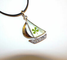 "Bon Voyage Sailor Boat pendant with REAL Four-Leaf Clover (cord 19"" w/ ext.)"