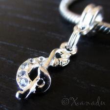 Music Clef Note Rhinestone European Bead For European Charm Bracelets Necklaces
