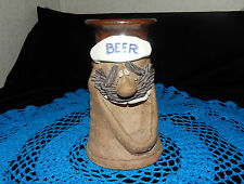 VTG.MARK HINES POTTERY BEER ALE MUG/STEIN/TANKARD~35 YEARS OLD~GOOFY BEER FACE~