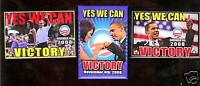 2008 VICTORY pinback 3 Barack OBAMA YES We Can MICHELLE Campaign pins