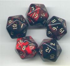 RPG Dice Set of 5 D20 - Oblivion Red