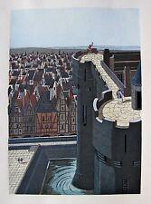 JEAN GRADASSI Memoirs of Cardinal Dubois 1950 Vintage Color Illustration Castle