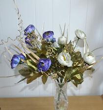 NEUF 2 x Bouquet de fleurs artificiel blanc violet USINE blumendeko
