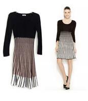 Calvin Klein Women's Black White Pink Striped Sweater Dress Size S