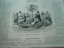 Gravure 1869 - Le Vélocipède Carrousel invention américaine