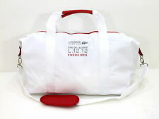 LACOSTE L.12.12 excité Unisexe Blanc & Rouge Sport Duffel Bag Gym Weekend Sac