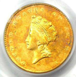 1855 Type 2 Indian Gold Dollar (G$1 Coin) - Certified PCGS XF45 (EF45) - Rare!