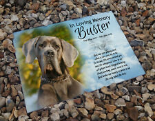 Personalised memorial gravestone headstone marker, ceramic tile, Great dane dog