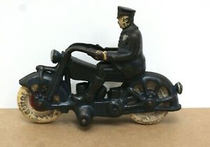 """Vintage Champion Cast Iron Police Motorcycle 7"""" Long 1930s Exc"""