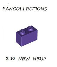 LEGO X 10 -  Dark Purple Brick 1x2 - 3004 NEUF