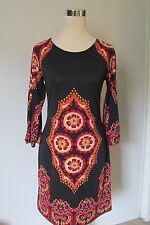 INC International Concepts Black/Red Jewel Print Strech Above Knee Dress NWOT S