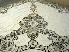 """Antique Needle Lace Linen Tablecloth handmade embroidered Edwardian 68"""" x 102"""""""
