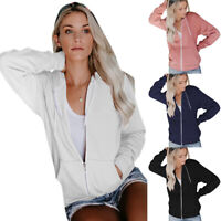 Women Plain Zip Up Hoody Sweatshirt Coat Jackets Lady Casual Outwear Top Hoodies