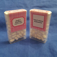 12 Personalized Baby Shower Tic Tac Mint Labels Stickers Pink Plaid
