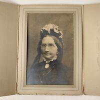 Antique/Vintage Trifold Photograph Beautiful Mature Fabulous Woman Glasses Hat