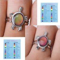 Fashion 1 Pcs Color Changing Mood Turtle Ring Finger Ring Adjustable