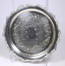 """Vintage WEBSTER & WILCOX """"American Rose"""" Ornate Silver-plate Round Tray 13""""D"""