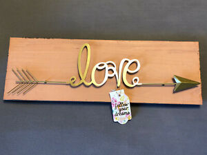 LOVE Gold/Pink Wooden Rustic Farmhouse Wall Decor Sign