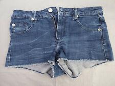 Topshop MOTO Indigo Denim Raw Cut Frayed Jeans Shorts 5 Style Pockets W 28''