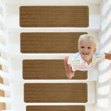 RainDecor Stair Treads Stripes Design Soft Carpet Surface Slip Resistant Backing
