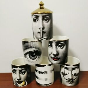 Fornasetti Classic Human Face Candle Holder Necklace Jewelry Storage Ceramic 👍