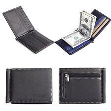 Men's Leather Bifold Wallet Credit/ID Card Holder Slim Coin Purse Black