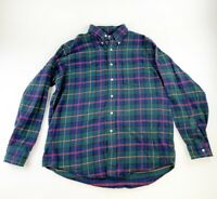 LL Bean Long Sleeve Button Up Shirt Size Large Plaid Flannel Made In USA