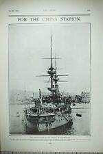 1903 Imprimé First Class Bataille Vaisseau Illustres Chine Station