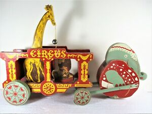 SWEET ELEPHANT PULL & MOVING PAINTED WOOD TOY CIRCUS WAGON, + GIRAFFE & LION