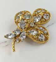 Lovely Vintage Jewellery Gold-tone Rhinestone Brooch
