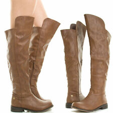 """new Brown 1.5""""Low Block Heel Round Toe Sexy Over Knee Boots Size 6"""
