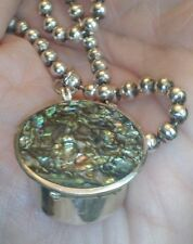 """Mecico 9.25 silver Turquoise inlay Posion Locket & 9.25 """"pearls """" 18"""" necklace"""