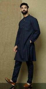 Bleu Marine Couleur Traditionnel Chemise Haut Chemise Homme Vêtement Coton Kurta