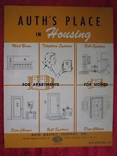 1940's AUTH, APARTMENT DOOR CHIMES,BELLS,TELEPHONE SYSTEMS,MAIL BOXES BROCHURE